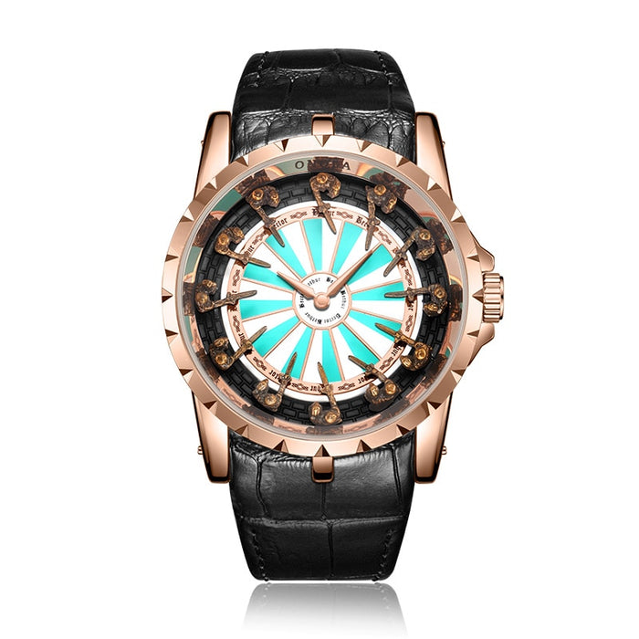 Unique Quartz Man Watch  Luxury Rose Gold