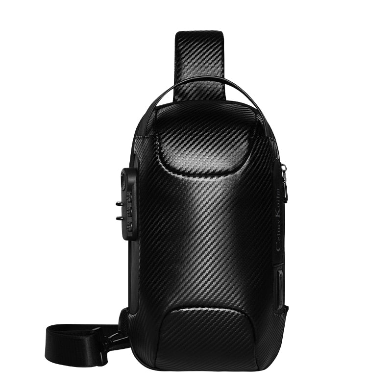Celinv Koilm Brand Men Bag Woven Leather Sling Chest Crossbody Bag For Man Moto Biker Shoulder Bags Black New Fashion Hot Sale