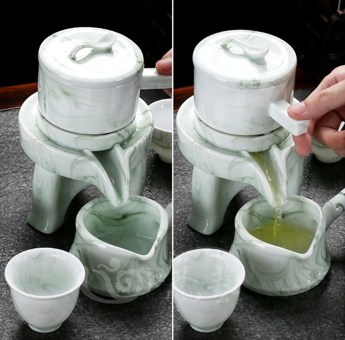 High grade Marble stripes Tea set stone grinding semi-automatic Tea Set,Kung Fu tea pot cup.Creative Tea ceremony supplies