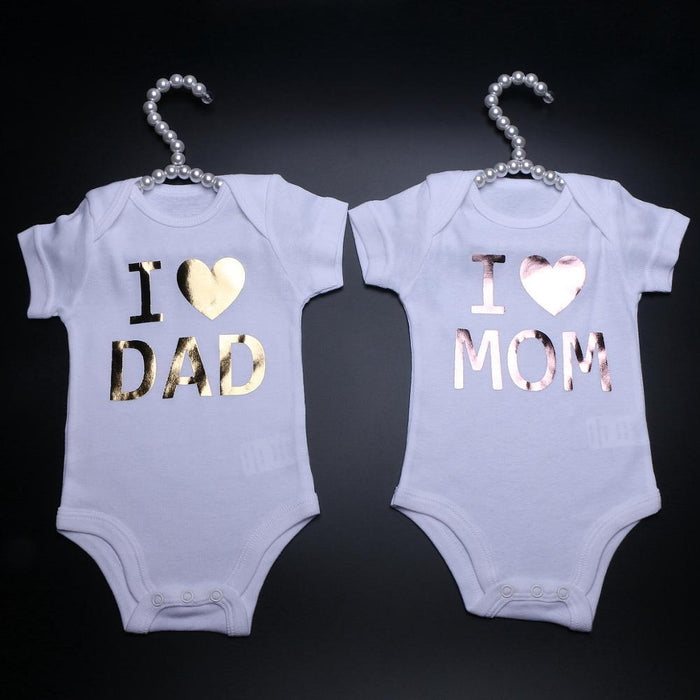 Newborn Bodysuits I Love Dad / I Love Mom White Onesie Short Sleeves