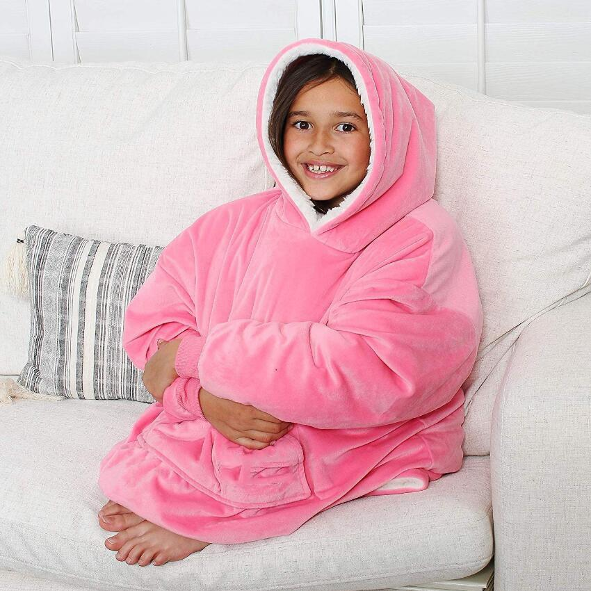 Coral Fleece Sherpa Blanket With Sleeves
