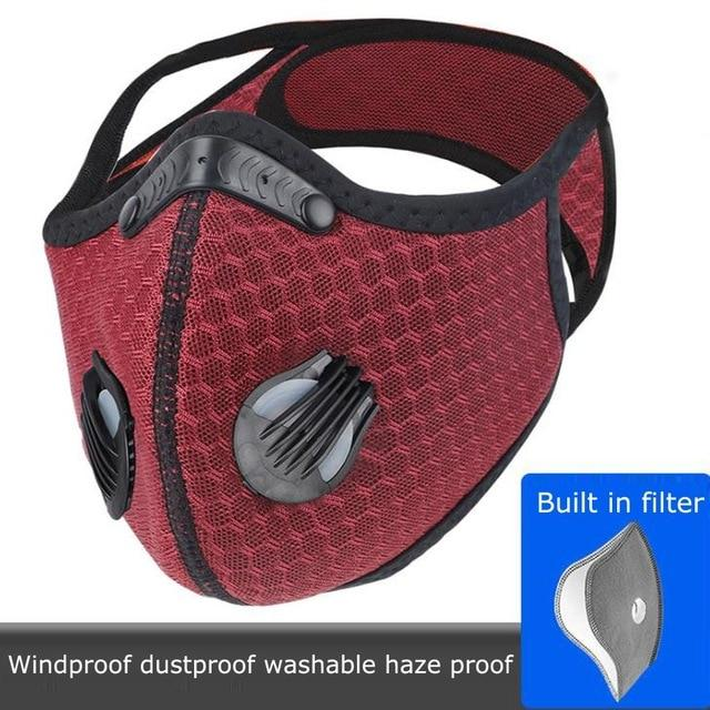 Bulk Reusable Sports Face Mask | Tactical Design Strap Mesh Red