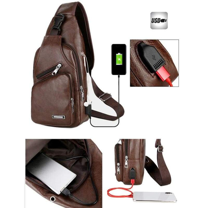 PU Shoulder USB Charging Anti Theft Chest Bag
