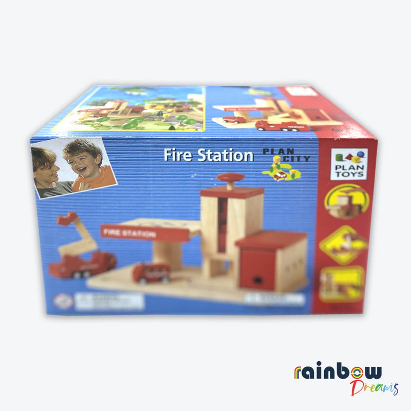 Plan City Fire Station Wooden Toy