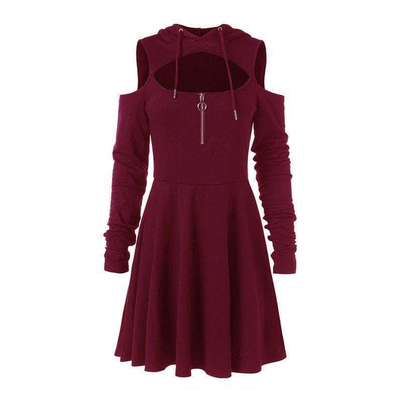 Bella Jane -  Hooded Pleated Hollow Off Shoulder Mini Dress - Addicted City
