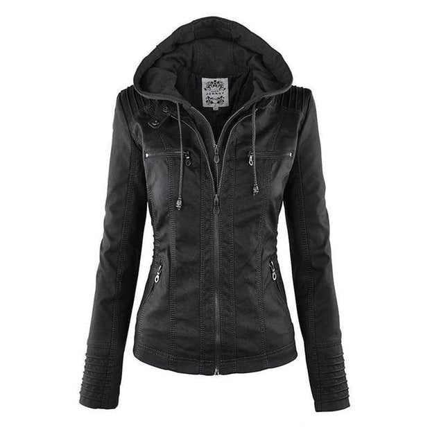 Bella Raven - Ladies Vegan Leather Biker Jacket - Addicted City