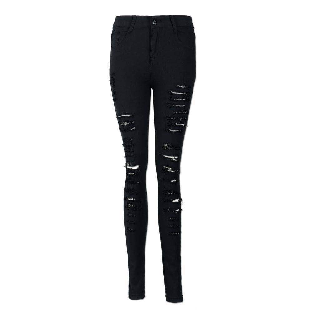 Black Ripped Women's Skinny Jeans - Addicted City