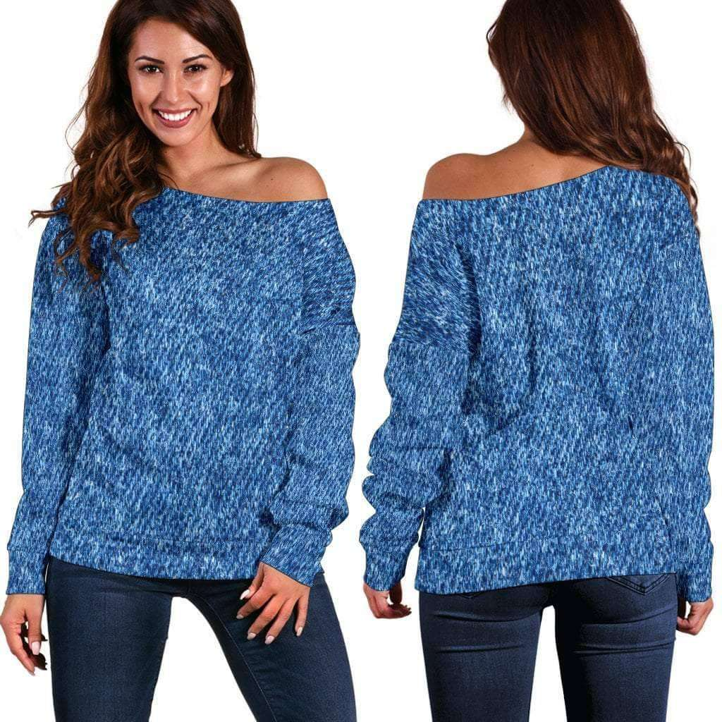 Denim Print Off Shoulder Sweater PLUS SIZE UP TO 4X) - Addicted City