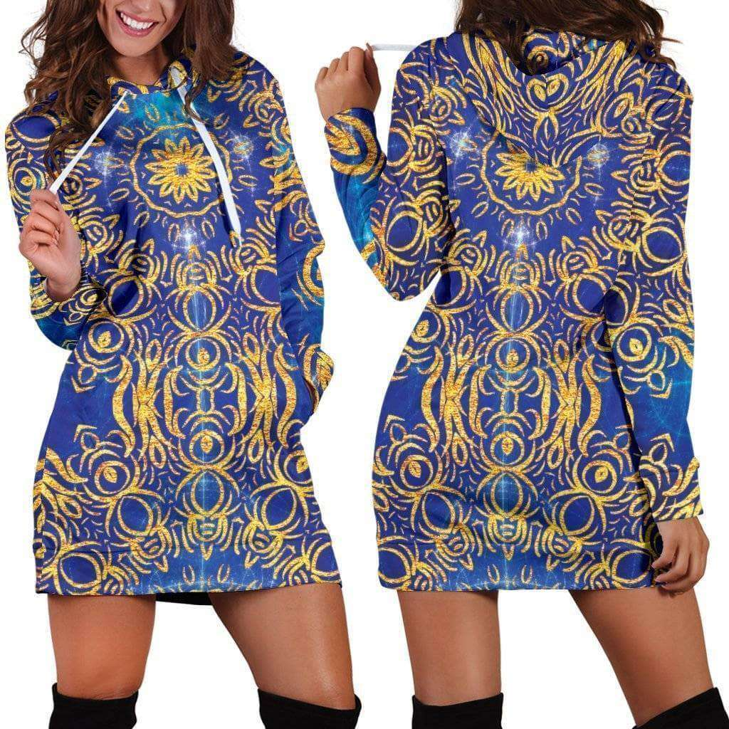 Gold Bohemian Hoodie Dress - Addicted City