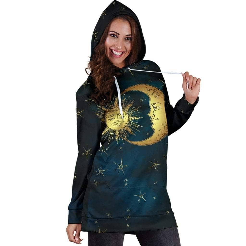 Gold Sun and Moon Hoodie Dress - Addicted City