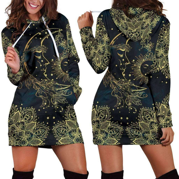 Gold Sun Moon Hoodie Dress - Addicted City