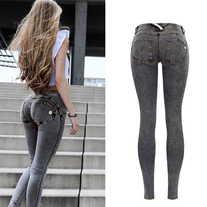 Gray Band Apple Women's Skinny Jeans - Addicted City