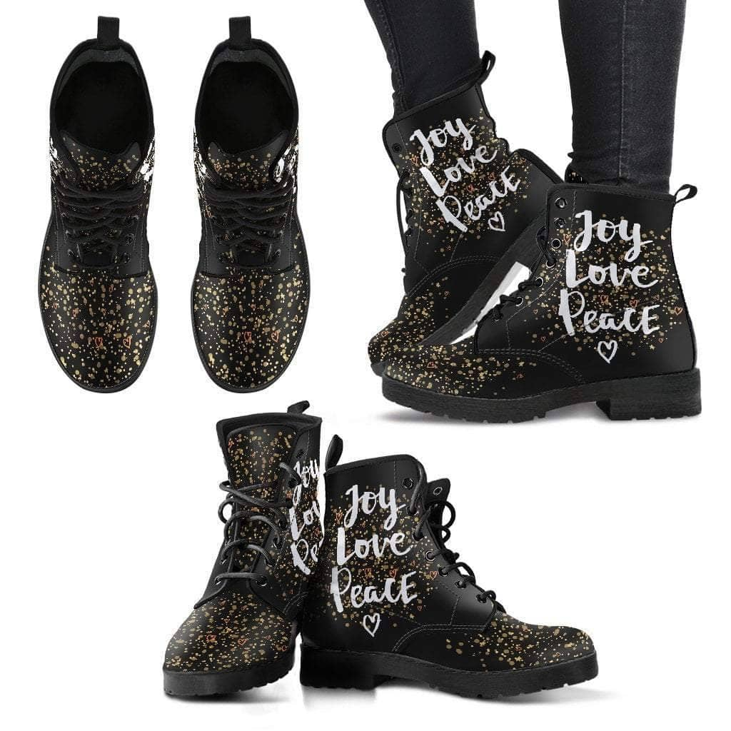 Joy Love Peace Women's Leather Boots - Addicted City