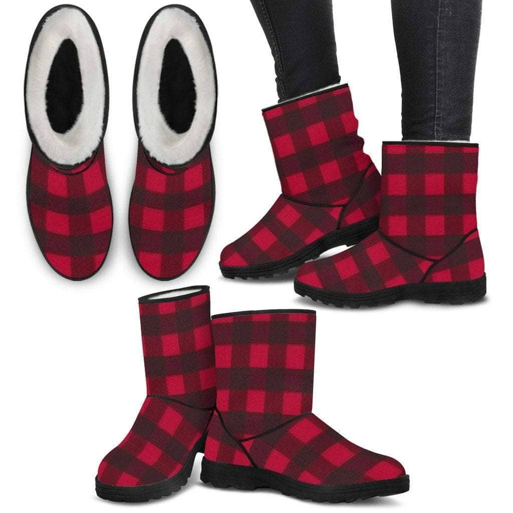 Ladies Faux Boots - Red Plaid - Addicted City