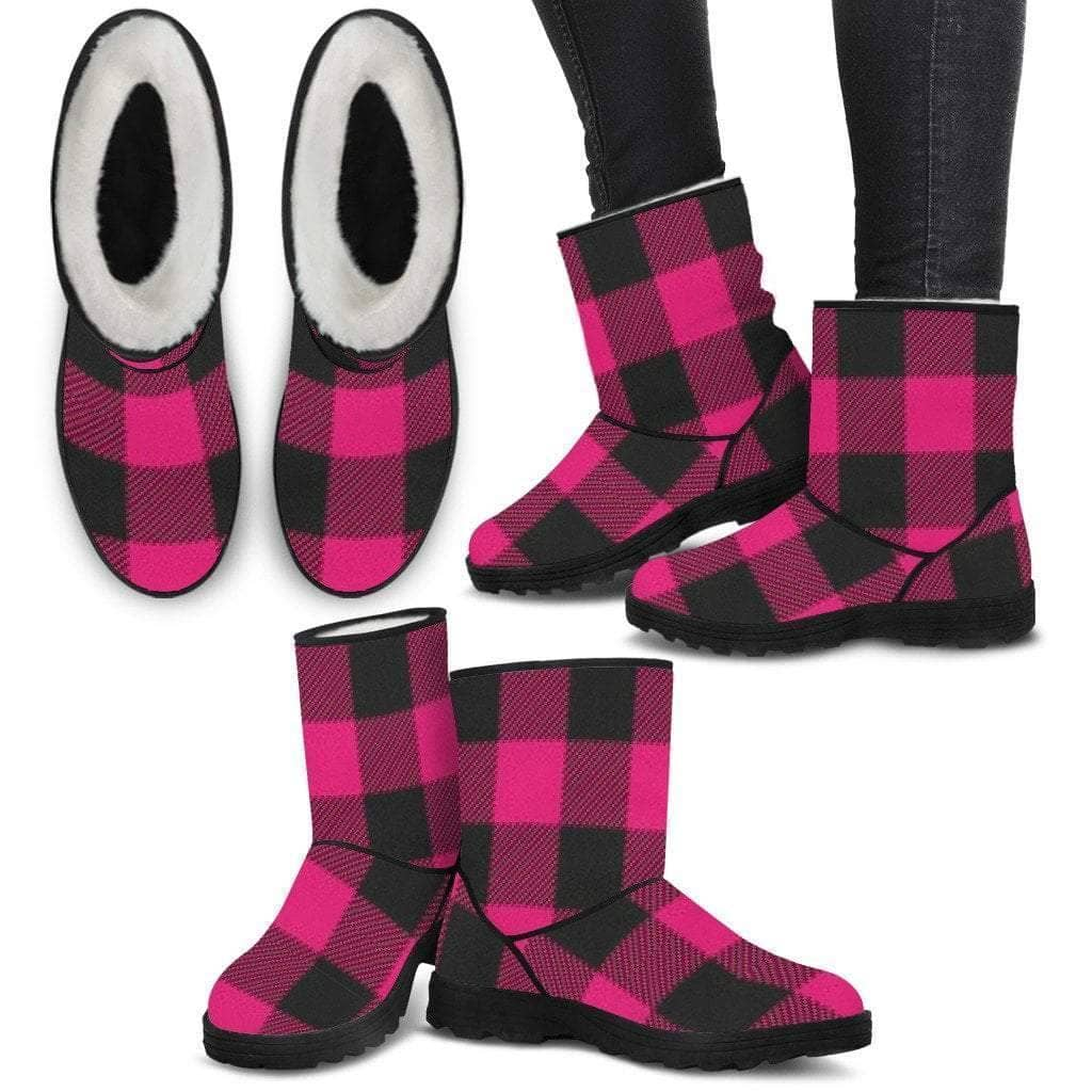 Ladies Faux Fur Boots - Pink Plaid - Addicted City
