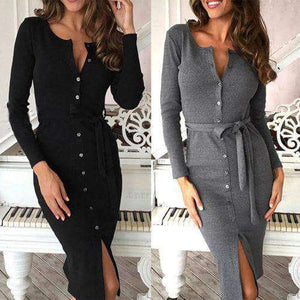 Long Sleeve Button Down Winter Midi Dress - Addicted City