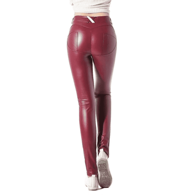 Low Waist Faux Leather Pants - Addicted City
