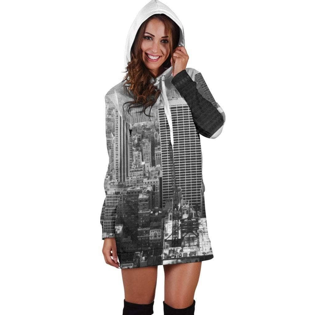 New York Print Hoodie Dress - Addicted City