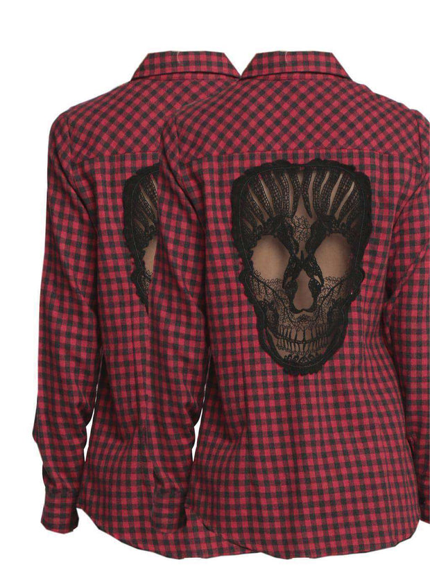 Plaid Hollow Out Skull Shirt (S-4XL) - Addicted City