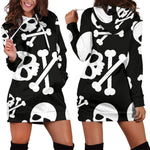 Skull & Crossbones Women's Hoodie Dress - Addicted City