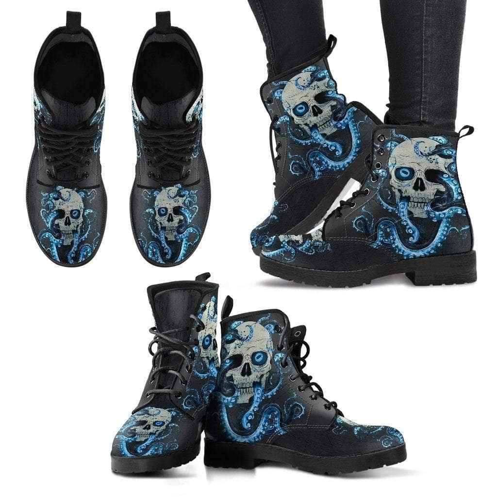 Skull With Octopus Tentacles Women's Handcrafted Premium Boots V2 - Addicted City