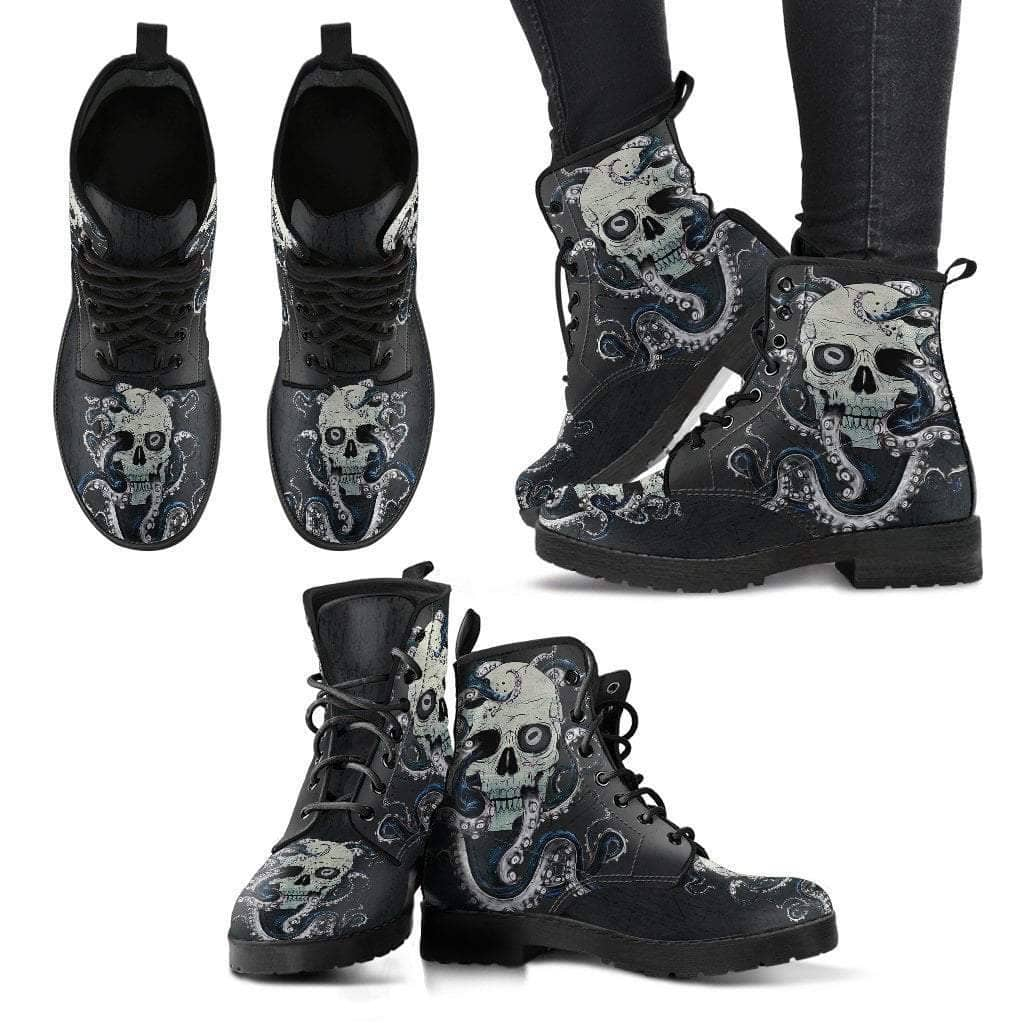 Skull With Octopus Tentacles Women's Handcrafted Premium Boots V4 - Addicted City