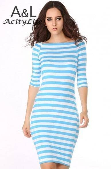 Sleek Blue & White Striped Women's Dress - Addicted City