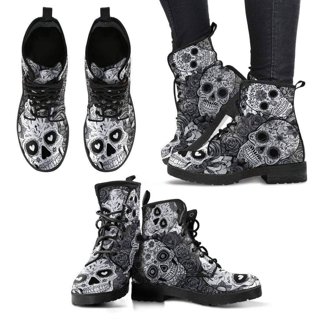 Sugar Skull Black & White Women's Leather Boots - Addicted City