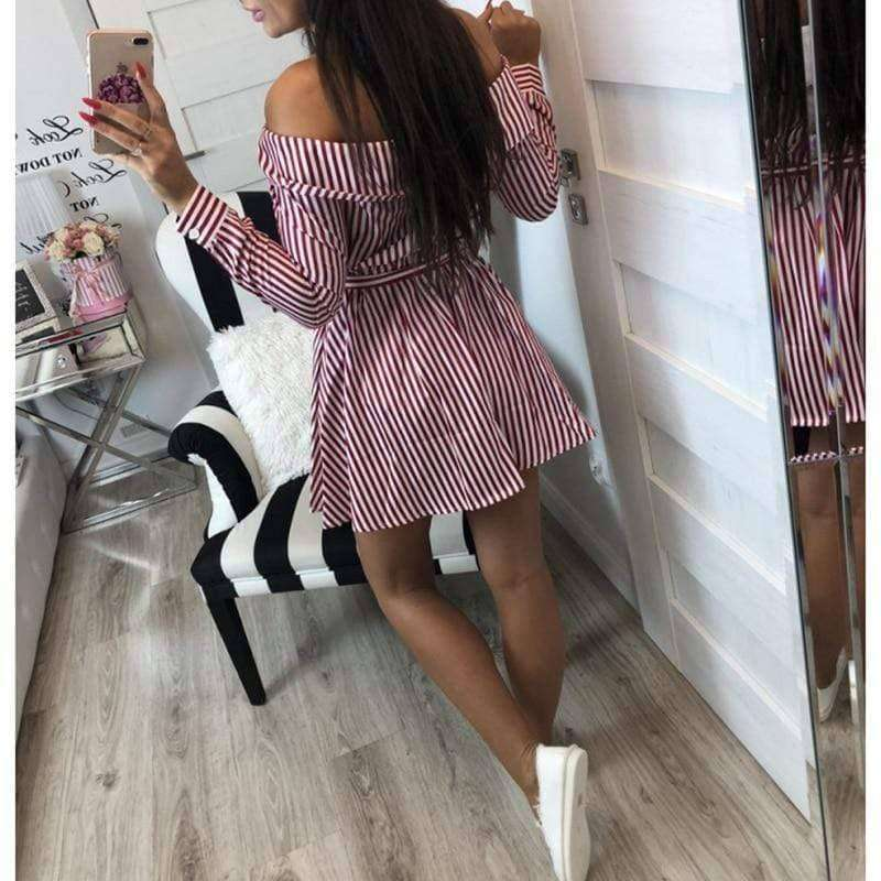 SunCoast Club™ Women's Long Sleeve Off The Shoulder Striped Summer Dress - Addicted City