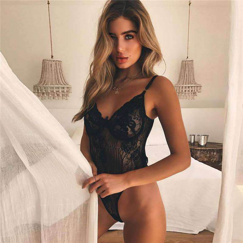 The Bow Tie -Hollow Lace Bodysuit - Addicted City