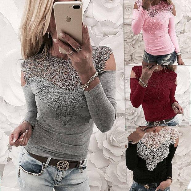The Cold Shoulder Long Sleeve Lace Top - Addicted City