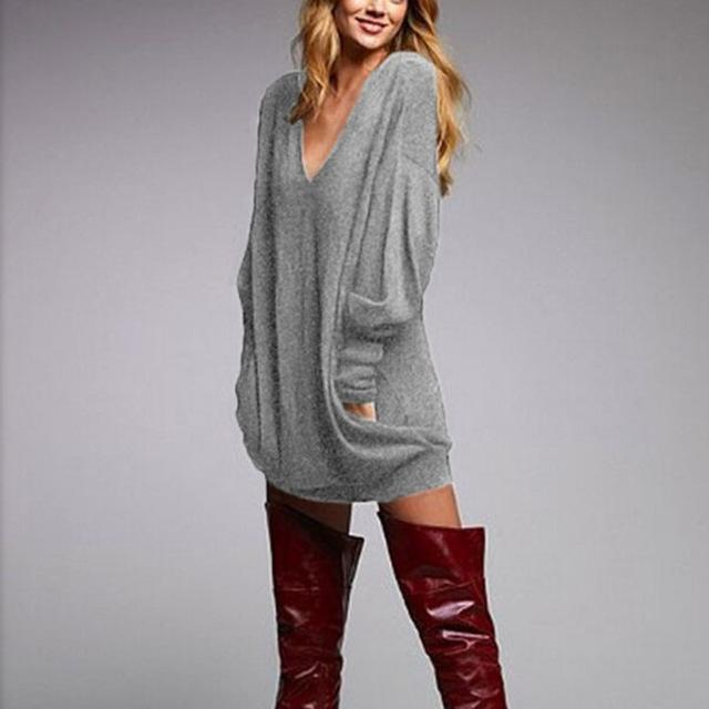 V Neck Loose Sweater Mini Dress - Addicted City