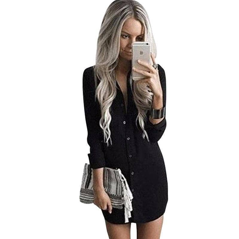 Women's Crew Neck Dress Shirt Dress - Addicted City