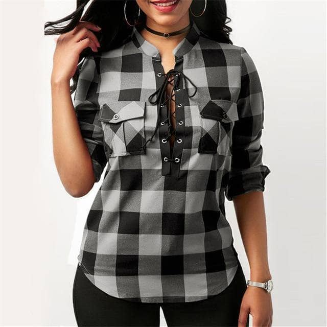 Women's Plaid Long Sleeve Lace Up Top - Addicted City