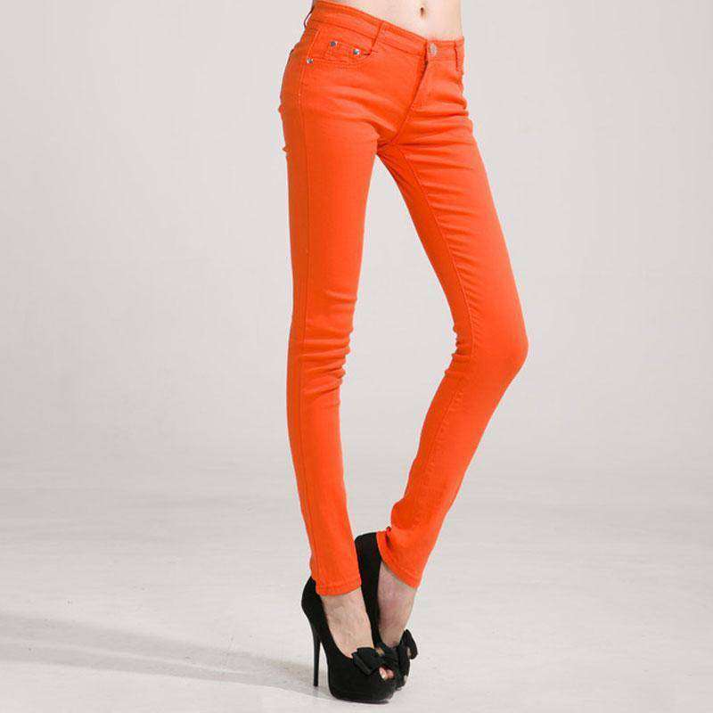 Women's Stretchy Mid Waist Candy Colored Skinny Jeans - Addicted City