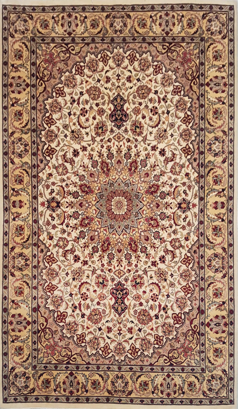 Rugs Online🥇 4.6 x 7.0 Beige Authentic Kashan Handmade Persian Rug