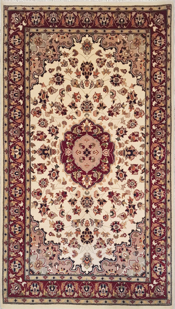 Rugs Online🥇 5.0 x 3.0 Beige Kashan Authentic Persian Wool Handmade Rug