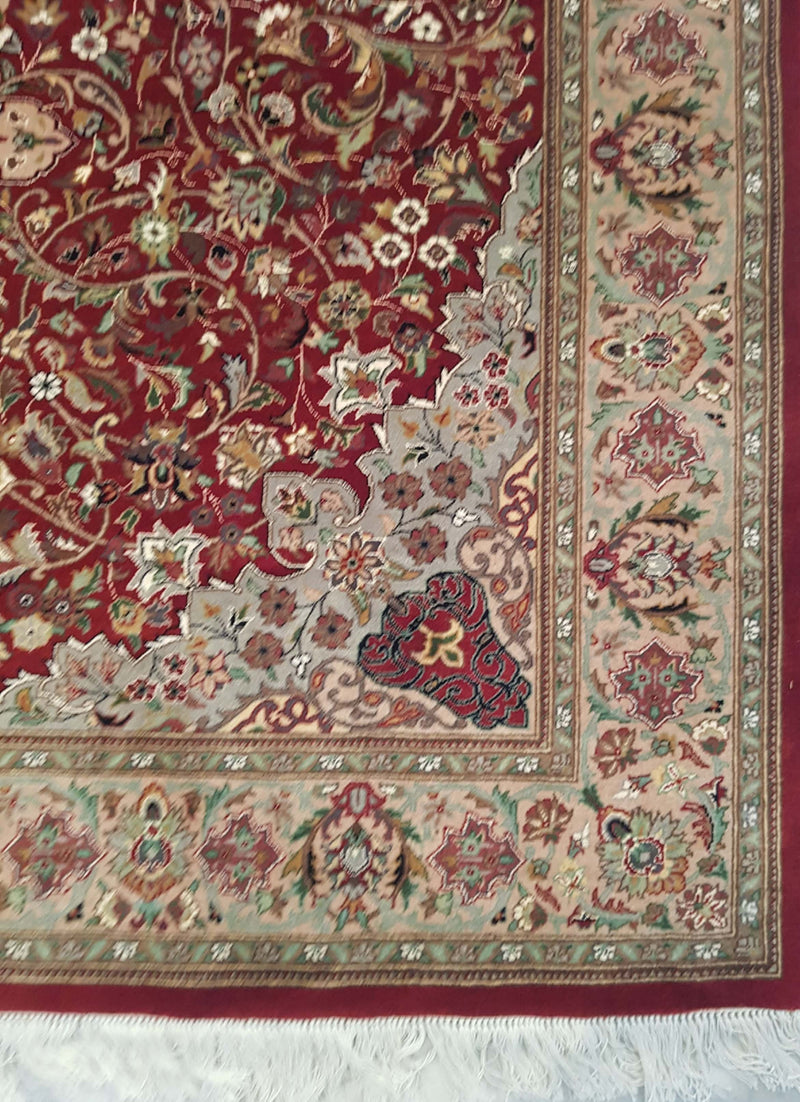 Rugs Online🥇 4.6 x 7.0 Beige Red Authentic Isfahan Handmade Persian Rug