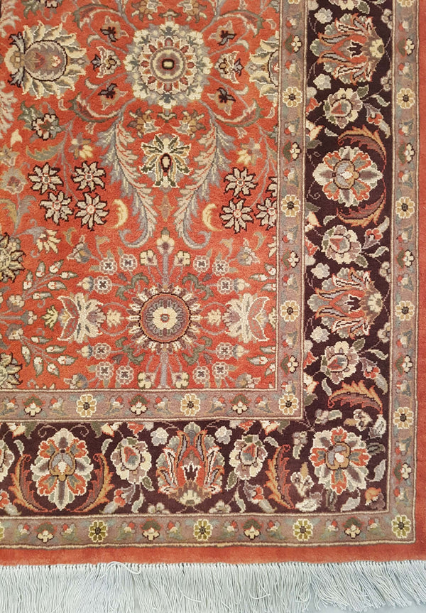 Rugs Online🥇 4.6 x 7.0 Coral Orange Handmade Persian Rug