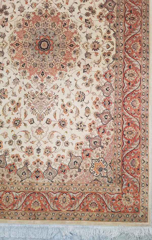 Rugs Online🥇 4.6 x 7.0 Creamy Red Silk Authentic Isfahan Handmade Persian Rug