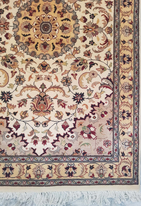 Rugs Online🥇 5.0 x 3.0 Creamy White Kashan Authentic Persian Wool Handmade Rug