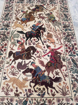 Rugs Online🥇 4.6 x 7.0 Creamy White Silk Hunter Shikar Gaah Antique Handmade Rug