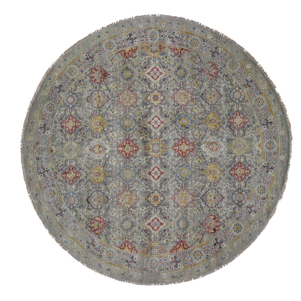Shrugs Transitional 10'x10' THE SUNSET ROSETTES Pure Silk and Wool Hand-Knotted Oriental Round Rug