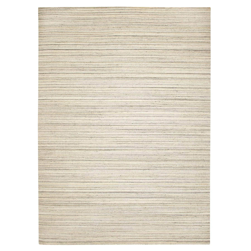 "Shrugs Modern and Contemporary 10'x13'9"" Beige Hand Loomed Natural Wool Plain Modern Oriental Rug"