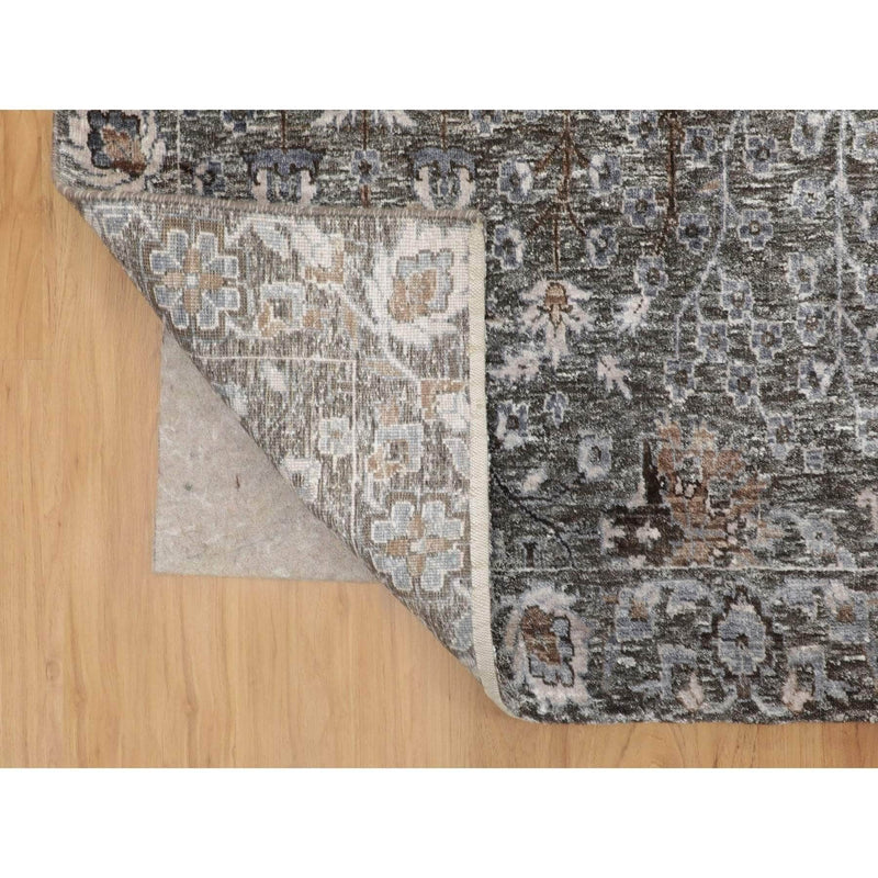 "Shrugs Transitional 10'x14'1"" Cypress Tree Design Silk with Textured Wool Hand Knotted Oriental Rug"