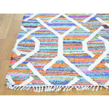 "Shrugs Flat Weave 10'x14'2"" Colorful Kilim Hand Woven Cotton and Sari Silk Oriental Rug"