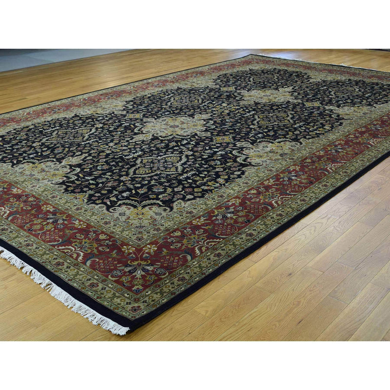 "Shrugs Fine Oriental 10'x15'10"" Hand-Knotted Kashan Revival 300 Kpsi New Zealand Wool Gallery"