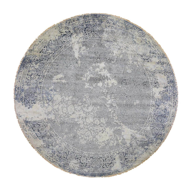 "Shrugs Transitional 11'10""x11'10"" Round Broken Persian Design With Pure Silk Hand-Knotted Oriental Rug"