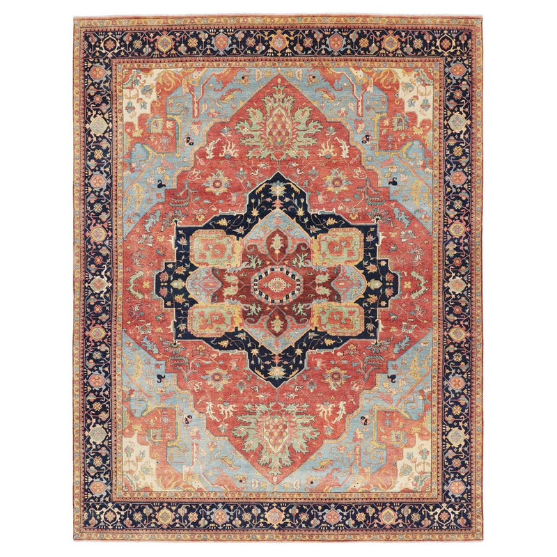 "11'9""x15'1"" Oversized Antiqued Heriz Re-creation Pure Wool Hand Knotted Oriental Rug Sh58075"