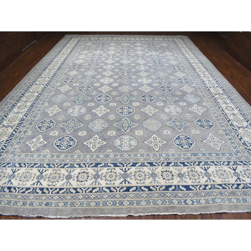 "Shrugs Kazak 12'1""x17'1"" Oversized Gray Vintage Look Kazak All Over Design Hand Knotted Natural Wool Rug"